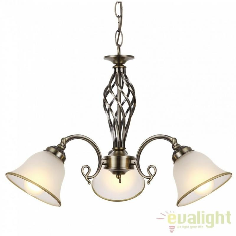 Candelabru clasic cu 3 brate, finisaj brass antique, Odin 60208-3 Globo Lighting, corpuri de iluminat, lustre